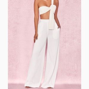 House of CB white wide-leg Mersina Trousers